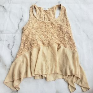 Tobi beige lace and sheer tank top